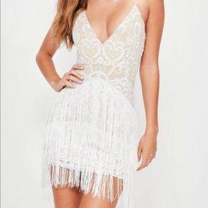 Missguided White Fringe Dress